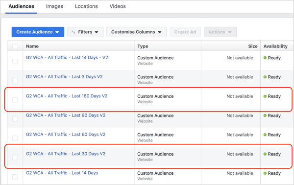 Select your website custom audiences built from the Facebook pixel.