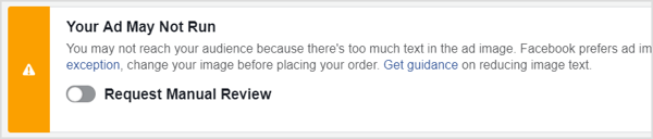 "Facebook ad warning message of ""Your Ad May Not Run."""