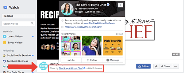 This is a screenshot of the Recipes show page on Facebook Watch. The Show By The Stay At Home Chef credit is highlighted with a bright red arrow and a red box. A popup with details about The Stay At Home Chef Facebook page covers the Recipes Facebook Watch show cover photo. Rachel Farnsworth runs both the Facebook page and the Facebook Watch show.