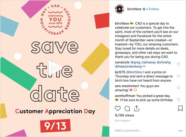 Het Instagram-account van Birchbox trakteerde volgers op deals, weggeefacties en verrassingen ter gelegenheid van de Dag van de Klantwaardering.