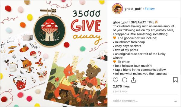 Artiest ghost_puff gebruikt een vriendelijke, herkenbare poststijl die uitnodigt tot babbelen van de gemeenschap op Instagram.