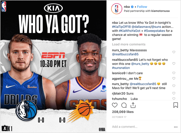 The NBA teamed up with sponsor Kia Motors to give away game tickets at the beginning of the season on Instagram.