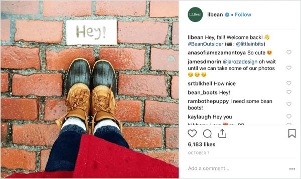 Herfstweer, mode en filters van LL Bean's Instagram.