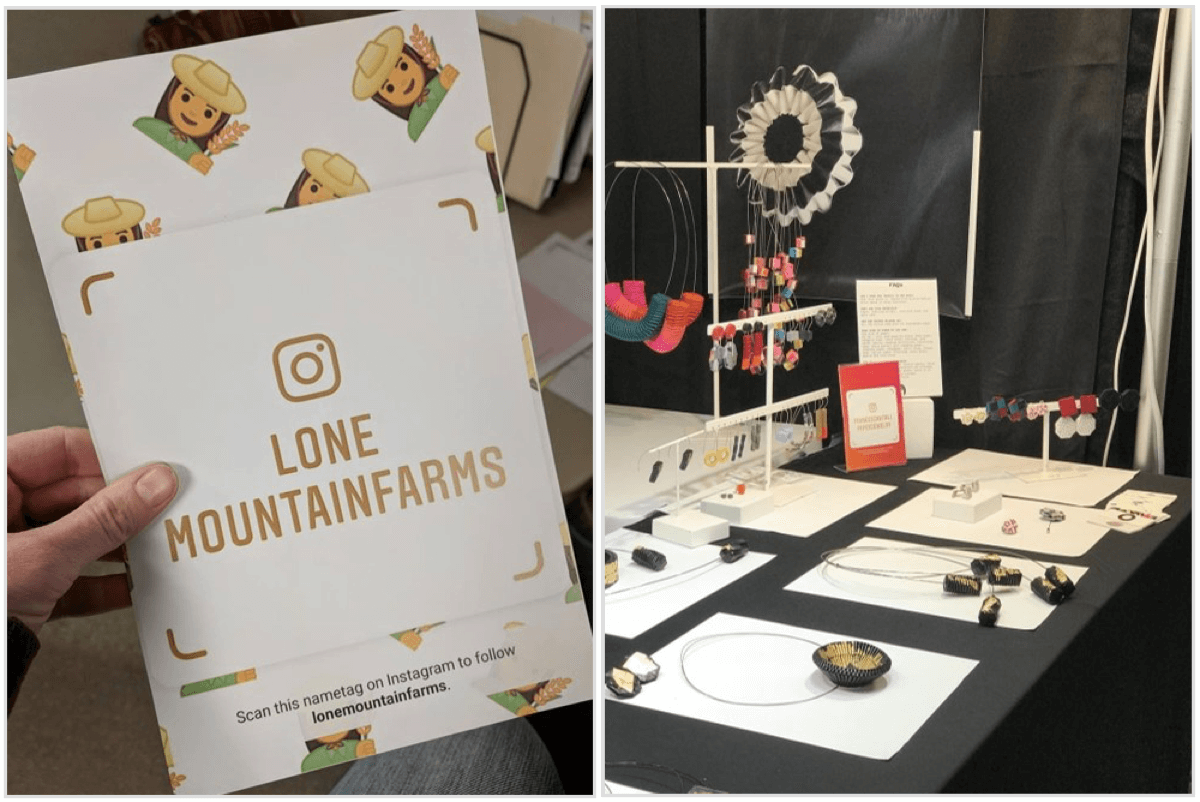 Examples of sharing Instagram nametags at events and expos.