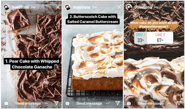 Voedselmagazine Bake From Scratch gaf hun Instagram-volgers controle over hun inhoudsschema met deze korte peiling.