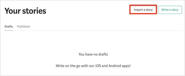 Select the Import Story option on Medium.