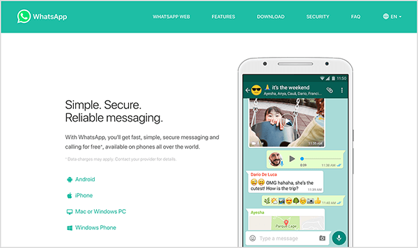 "This is a screenshot of the WhatsApp website. In the upper left is the WhatsApp logo, a white telephone handset icon in a green speech bubble. The website header has a green background and the following navigation options on the right, in white text: WhatsApp Web, Features, Download, Security, FAQ, and a language selection menu. The main area of the website has a white background. On the left is a heading in black text that says ""Simple. Secure. Reliable messaging."" Below this heading is the following text: ""With WhatsApp, you'll get fast, simple, secure messaging and calling for free*, available on phones all over the world."" In small gray text is a note about the asterisk: ""*Data charges may apply. Contact your provider for details."" Below this text is a list of icons with the following labels: Android, iPhone, Mac or Windows PC, Windows Phone. On the right side of the website is an image of a smartphone screen with a chat window that illustrates the types of messages you can send with WhatsApp, including a photo, an audio clip, text and emojis, and a map/location. Natasha Takahashi says bot capabilities might soon come to other messaging tools like WhatsApp."