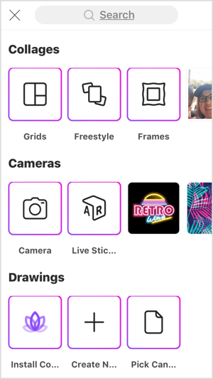 Create a collage, make a drawing, select a background, search for free images, or take a photo with PicsArt.