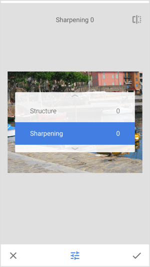 Adjust the sharpness and structure of your image in Snapseed.