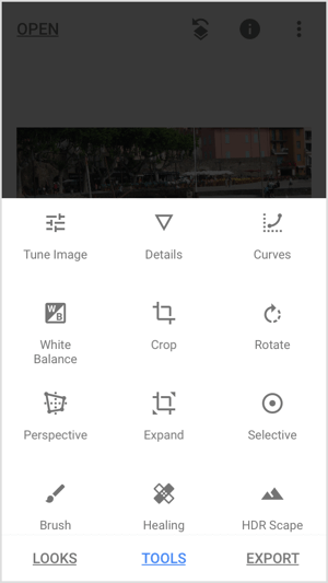 Snapseed tools menu.
