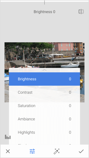 Tap the Tune Image tool to adjust image brightness, contrast, and saturation.