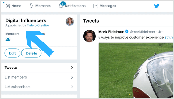 Interact with posts from users on your Twitter list.