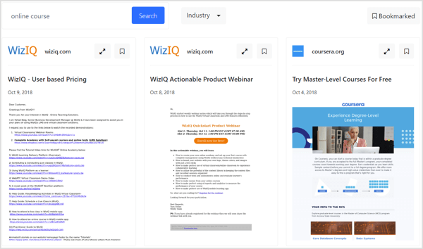 WhoSendsWhat lets you bookmark emails for future reference, sort email samples by industry, and start your search with specific domains.