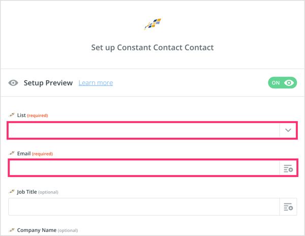 Set up your Constant Contact contact in Zapier.