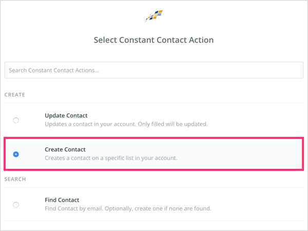 Select Create Contact.