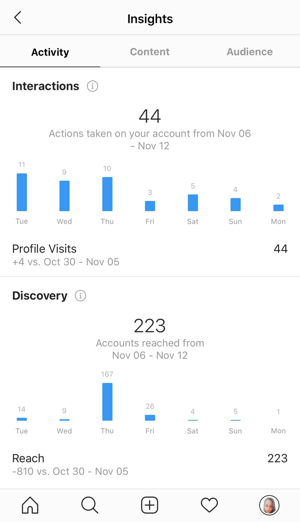 Example of Instagram insights showing the data on the Activity tab.