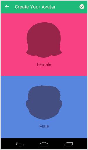 bitmoji choose avatar and gender