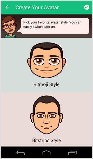 bitmoji choose avatar style