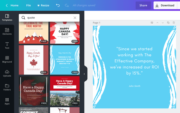 Examples of quote image templates for Instagram in Canva.