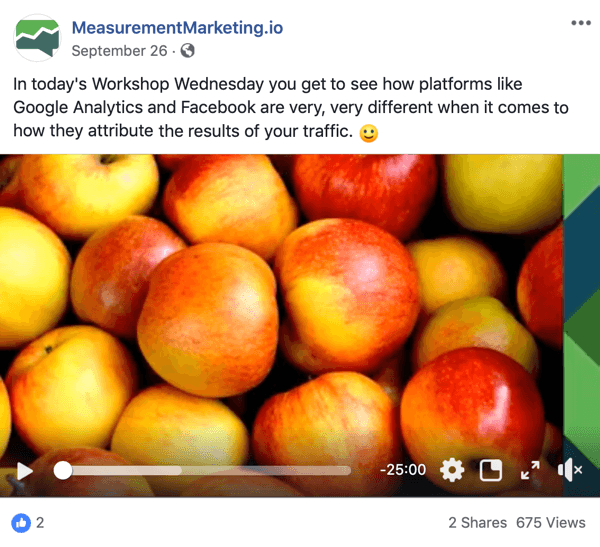 This is a screenshot of a Facebook post from the MeasurementMarking.io page. The post also shows a video that promotes Chris Mercer's Workshop Wednesdays lead magnet. Users who watch or click the video may have completed an awareness goal.