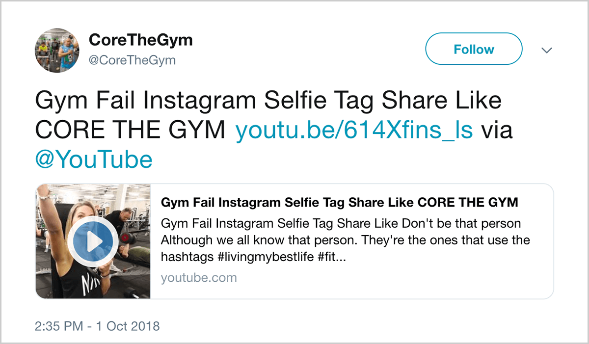 """8a8ef8a8af This is a screenshot of a tweet from  CoreTheGym. The tweet says """"Gym"""