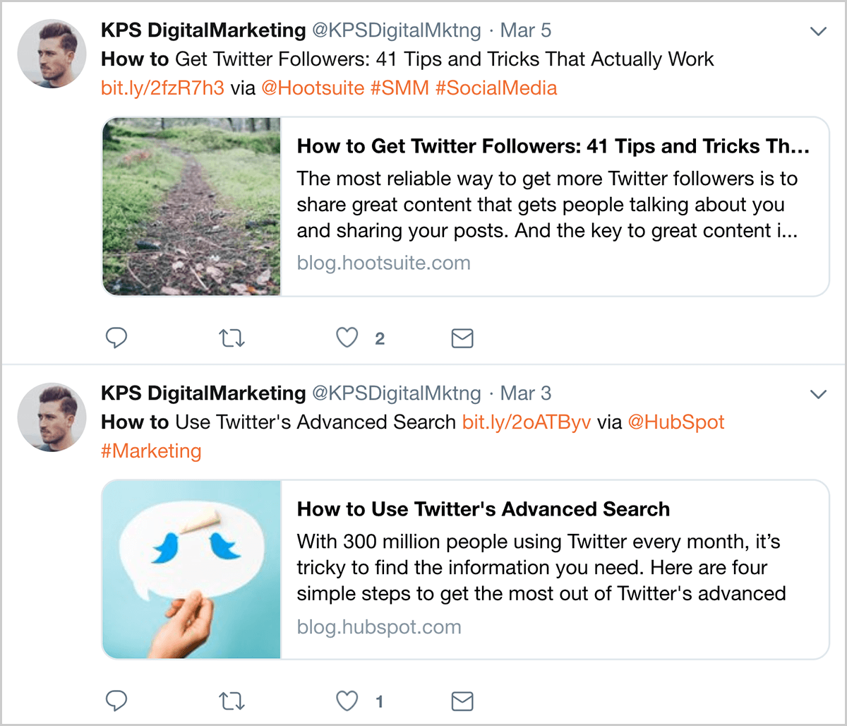a41b63b2fa This is a screenshot of automated tweets from  KPSDigitalMarketing posted  on March 3 and March