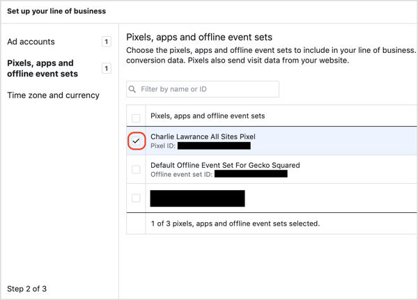 Choose the Facebook pixel associated with your ad account when setting up the Facebook attribution tool..