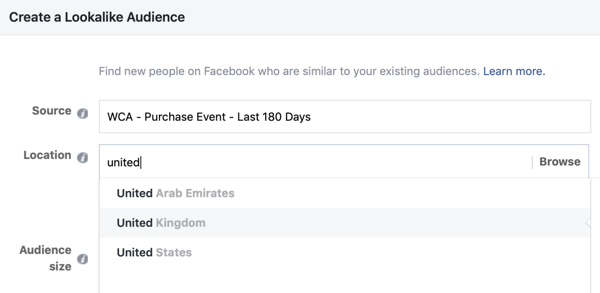 Settings to create your Facebook Lookalike audience from your custom audience.