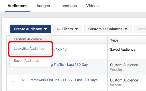Option to create a Facebook Lookalike Audience under Create Audience in Facebook Ads Manager.