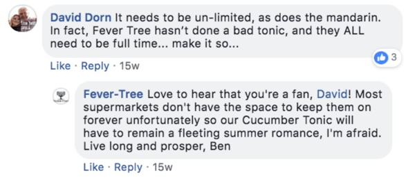 Example of a Fever-Tree responding to a comment on a Facebook post.