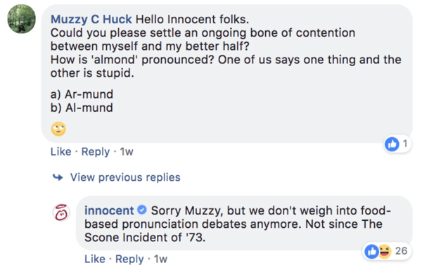 Example of Innocent responding to a comment question on a Facebook post.