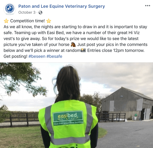 Example of Facebook post with a contest from Paton and Lee Equine Veterinary Surger.