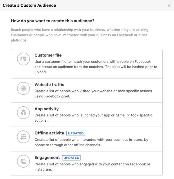 Options for How Do You Want to Create this Audience for your Facebook custom audience.