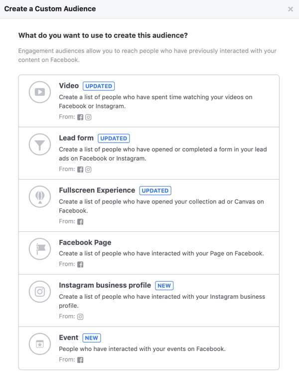 Options for What Do You Want to Use to Create this Audience for your Facebook custom audience.