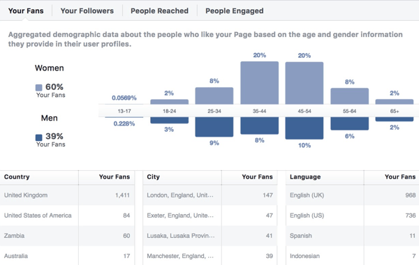 Facebook Insights audience demographics data.