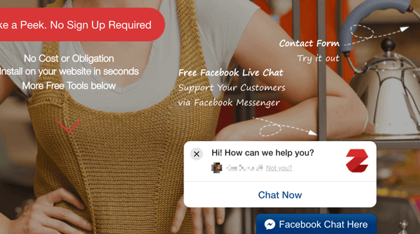 Zotabox facebook live chat example