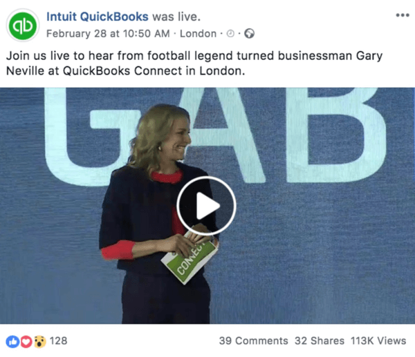 Example of a Facebook post announcing an upcoming Live video from Intuit Quickooks.