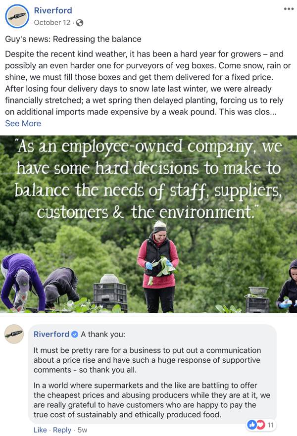 Example of a Facebook post that supports engagement from Riverford.