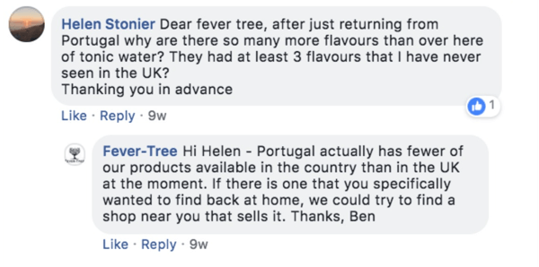 Example of Fever-Tree responding to a customer's question on a Facebook post.