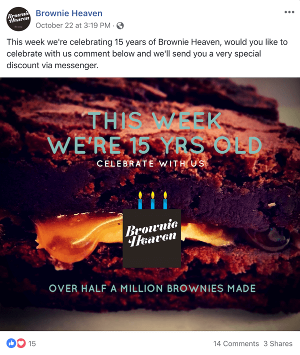Example of Facebook post with an offer from Brownie Heaven.