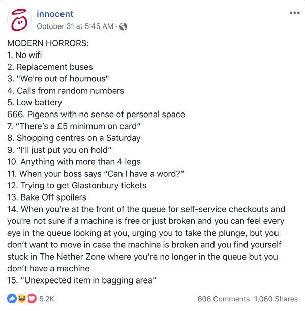 Example of a funny Facebook post from Innocent.