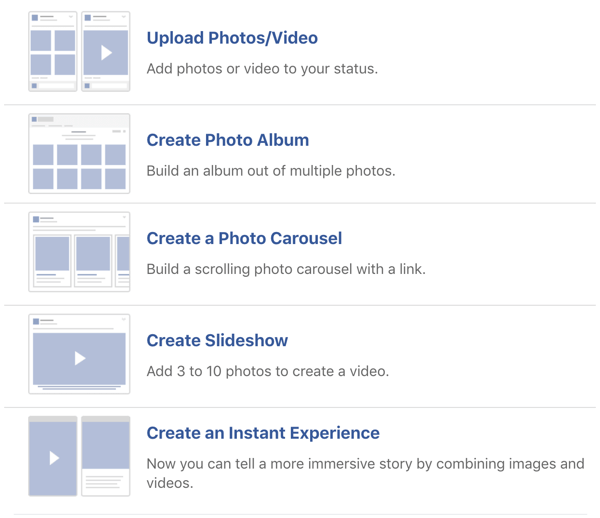 Example of Facebook image and video post options.