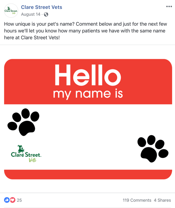 Example of Facebook post with a question from Clare Street Vets.