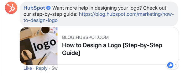 Example of a Facebook post from HubSpot.