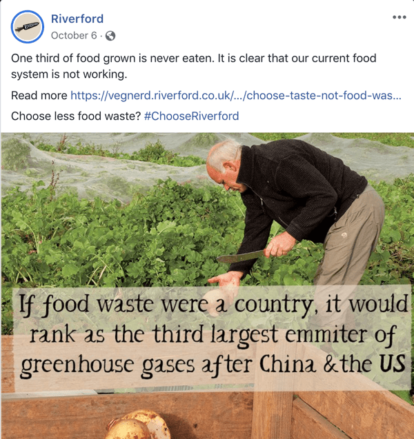 Example of a Facebook post that supports the branding of Riverford.