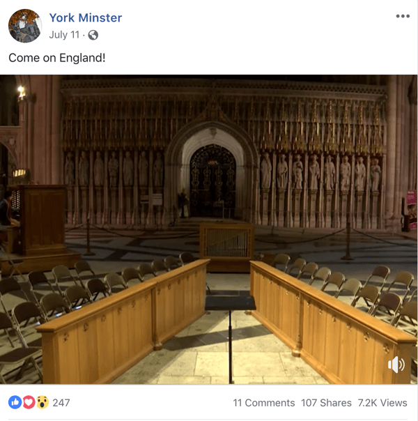 Example of Facebook post with a topical theme from York Minster.