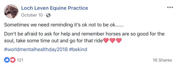 Example of Facebook post with emoji from Lock Leven Equine Practice.