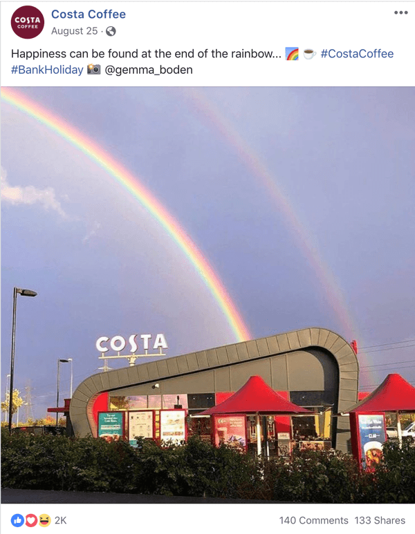 Example of Facebook post sharing UGC from Costa Coffee.