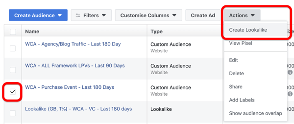 Option to create a Lookalike audience on your Facebook Audiences dashboard.