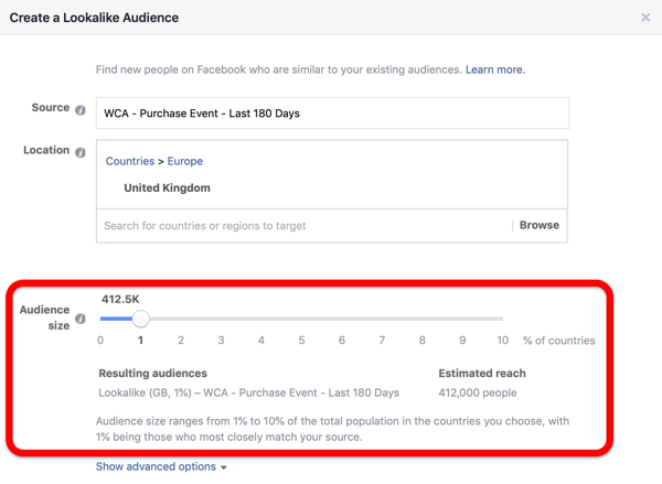 Audience size option when creating your Facebook Lookalike audience from your custom audience.